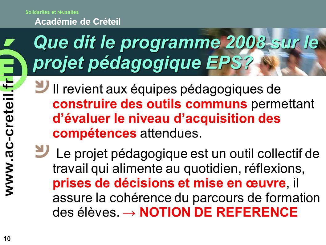 Que dit le programme 2008 sur le projet pédagogique EPS
