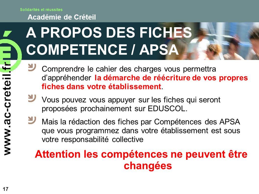 A PROPOS DES FICHES COMPETENCE / APSA