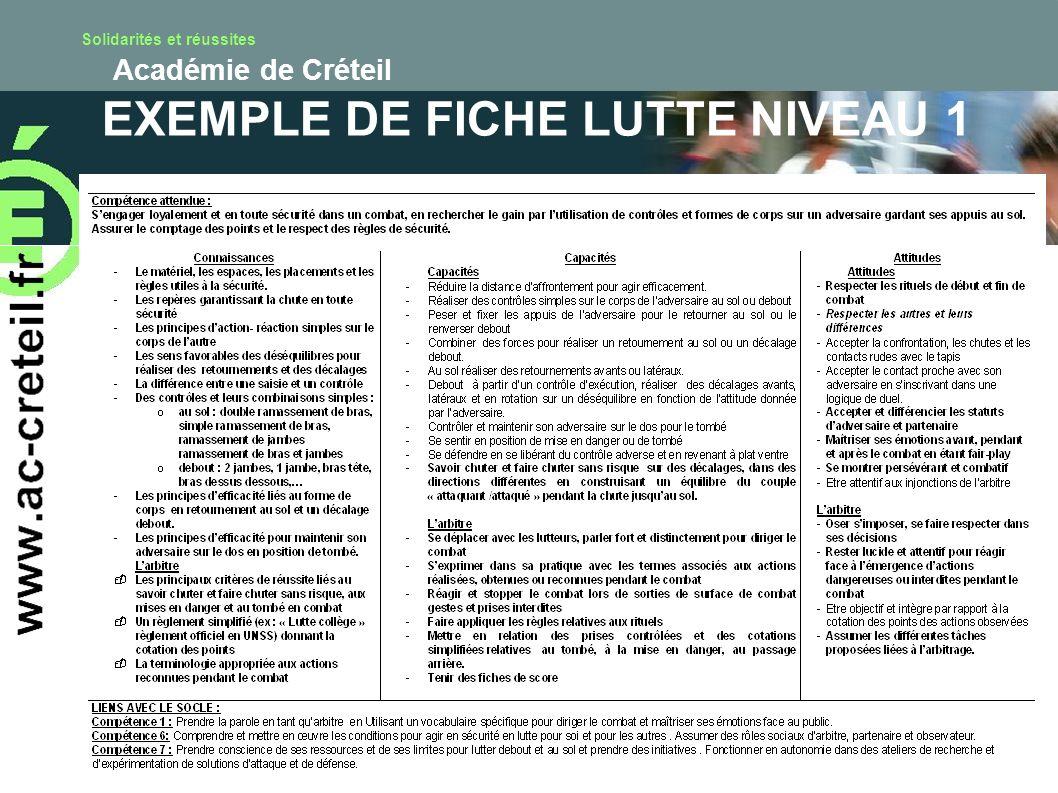 EXEMPLE DE FICHE LUTTE NIVEAU 1