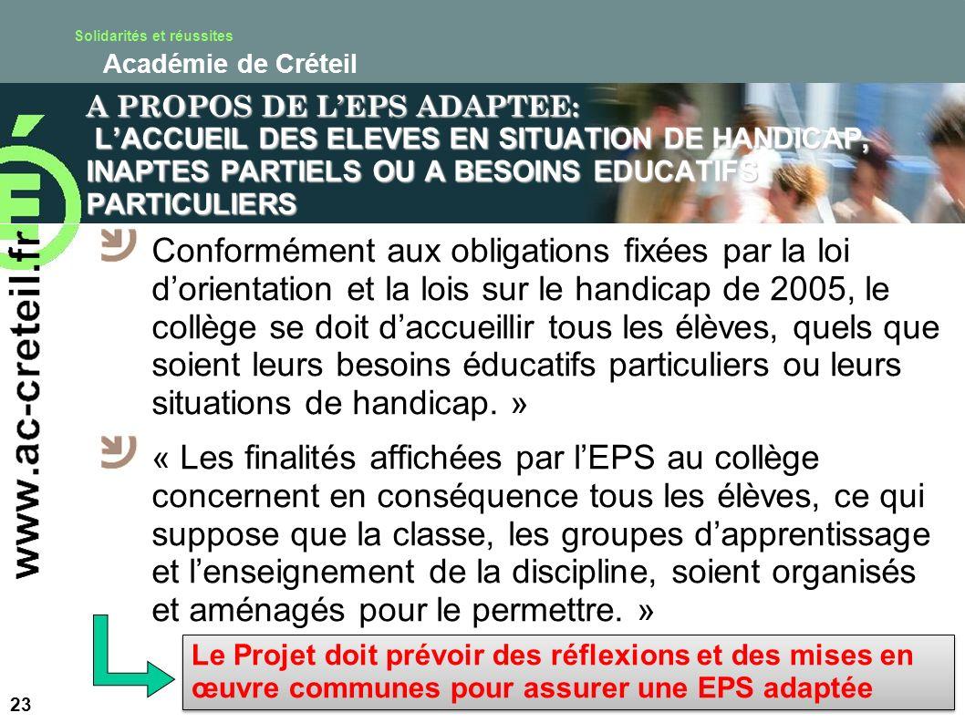 A PROPOS DE L'EPS ADAPTEE: L'ACCUEIL DES ELEVES EN SITUATION DE HANDICAP, INAPTES PARTIELS OU A BESOINS EDUCATIFS PARTICULIERS