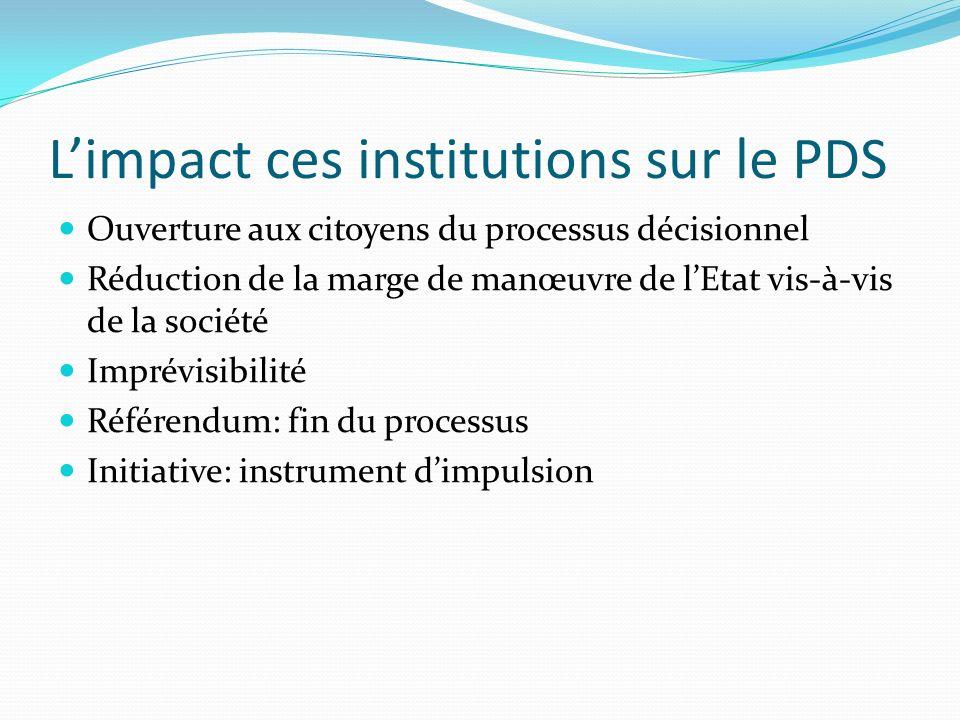 L'impact ces institutions sur le PDS