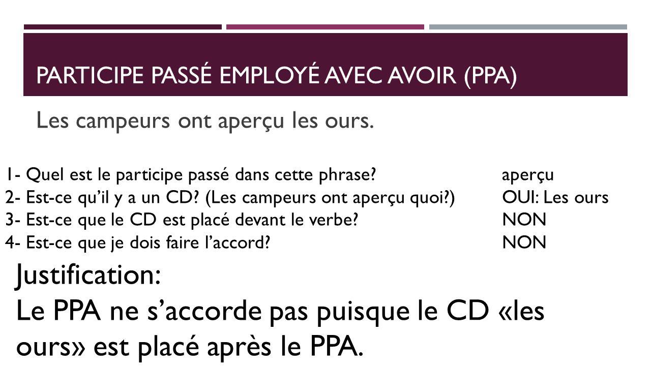 Participe passé employé avec avoir (PpA)