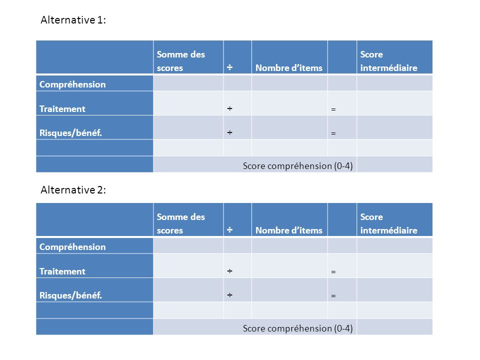 Alternative 1: Alternative 2: Somme des scores ÷ Nombre d'items