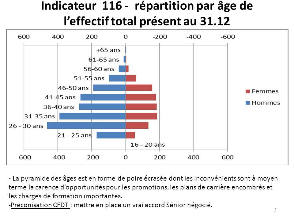 Indicateur 116 - répartition par âge de l'effectif total présent au 31