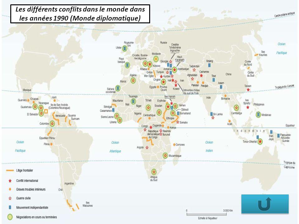 Les différents conflits dans le monde dans les années 1990 (Monde diplomatique)