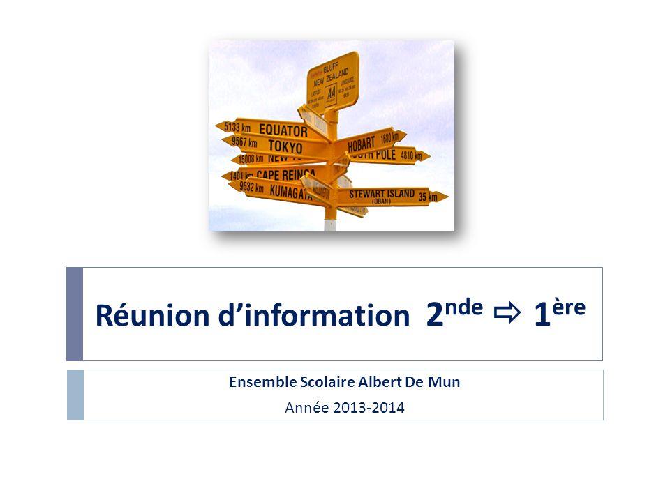 Réunion d'information 2nde  1ère