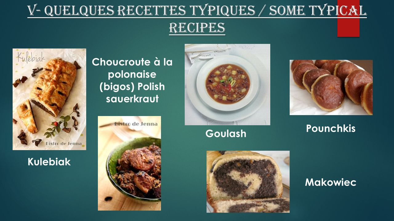 V- Quelques recettes typiques / some typical recipes