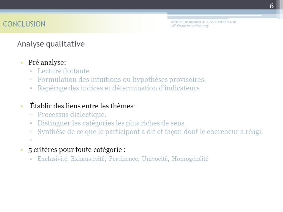 Analyse qualitative CONCLUSION Pré analyse: Lecture flottante