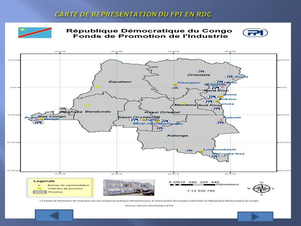 CARTE DE REPRESENTATION DU FPI EN RDC