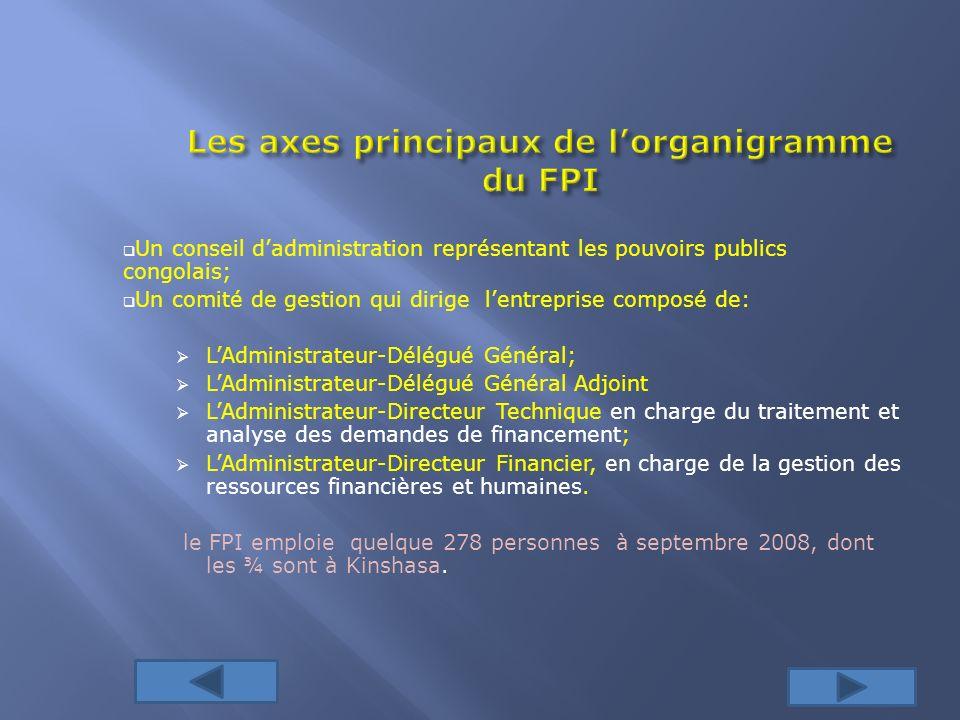 Les axes principaux de l'organigramme du FPI