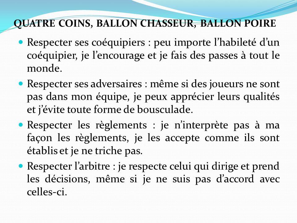 QUATRE COINS, BALLON CHASSEUR, BALLON POIRE