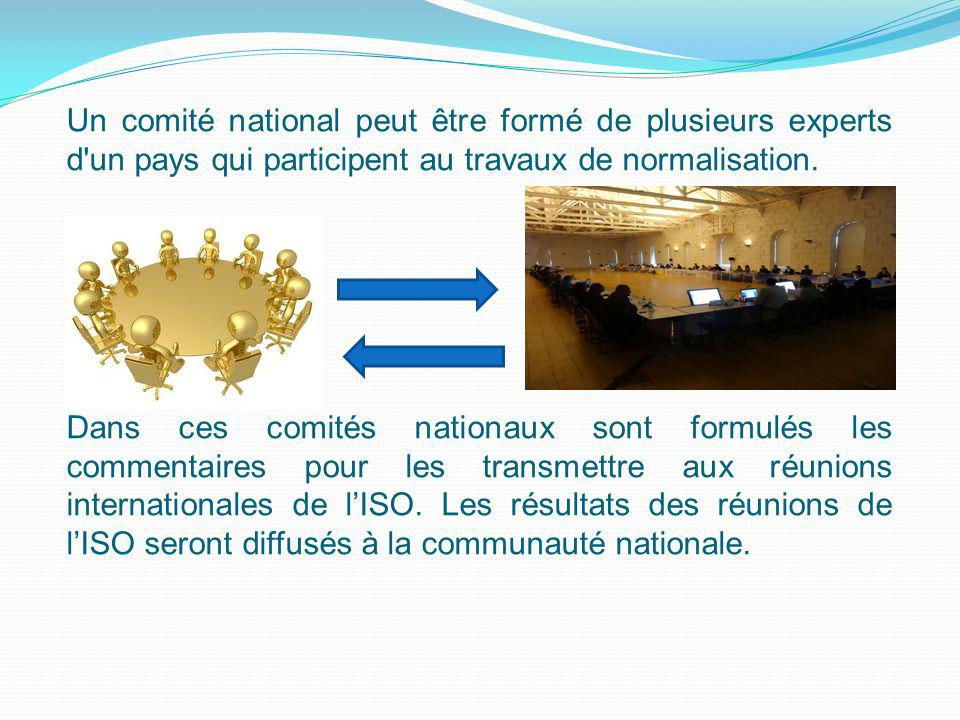Un comité national peut être formé de plusieurs experts d un pays qui participent au travaux de normalisation.