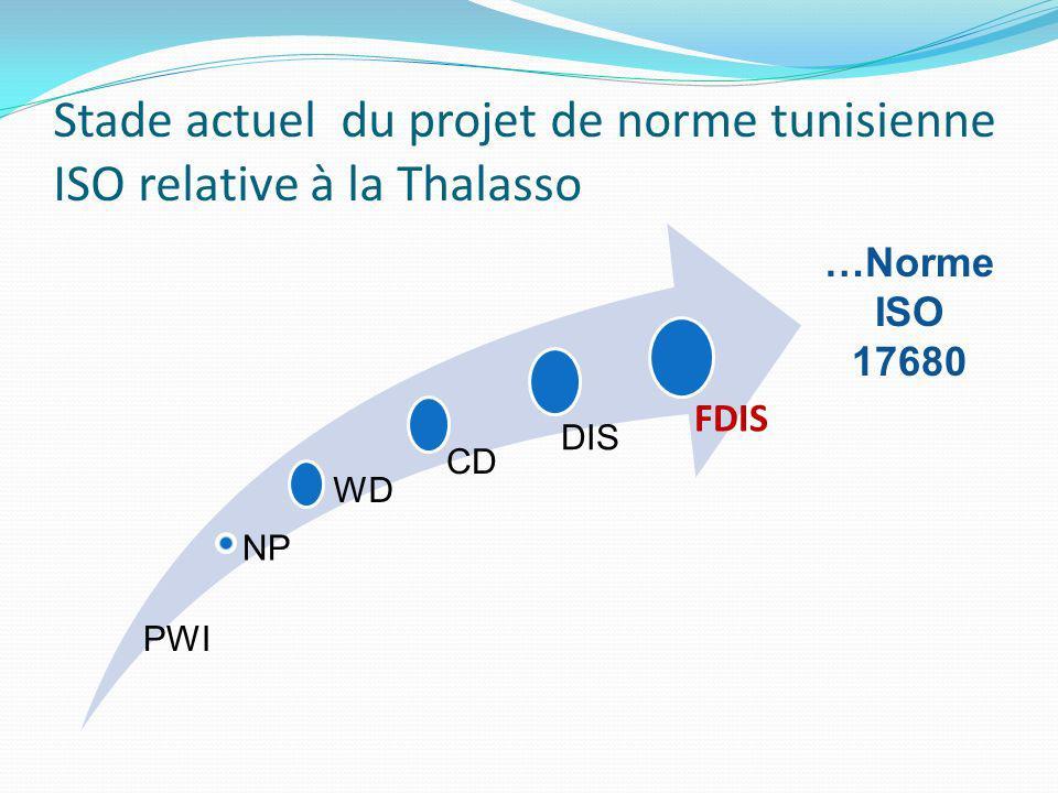 Stade actuel du projet de norme tunisienne ISO relative à la Thalasso