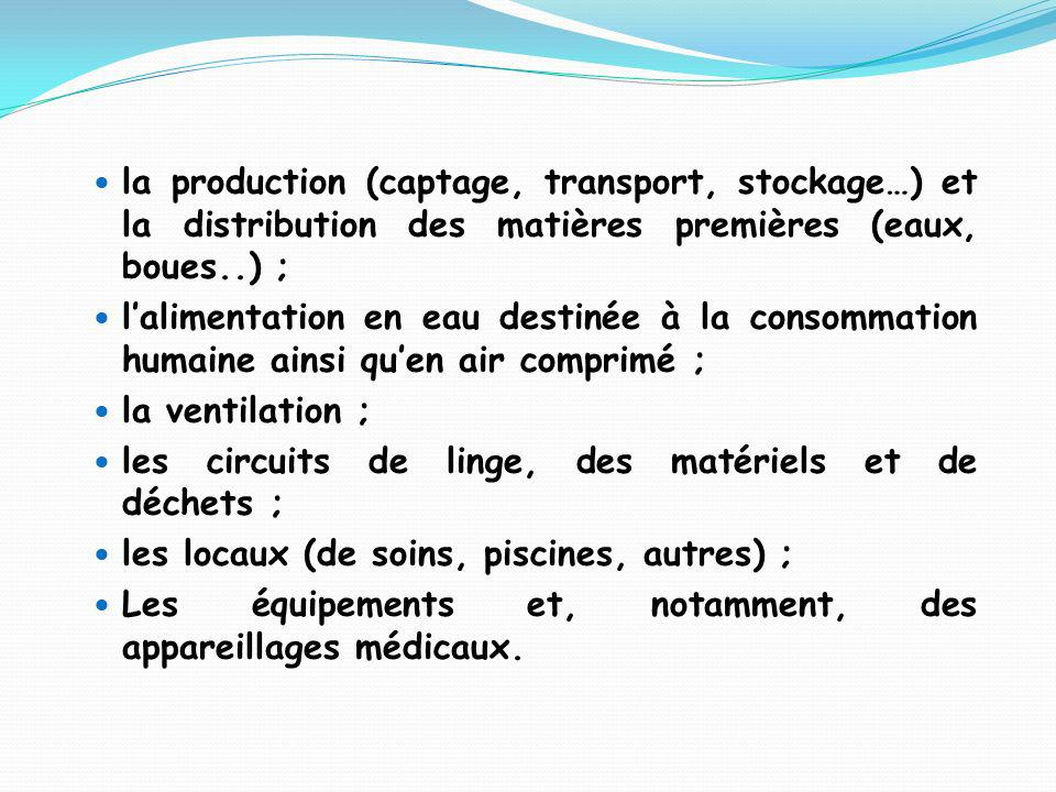 la production (captage, transport, stockage…) et la distribution des matières premières (eaux, boues..) ;