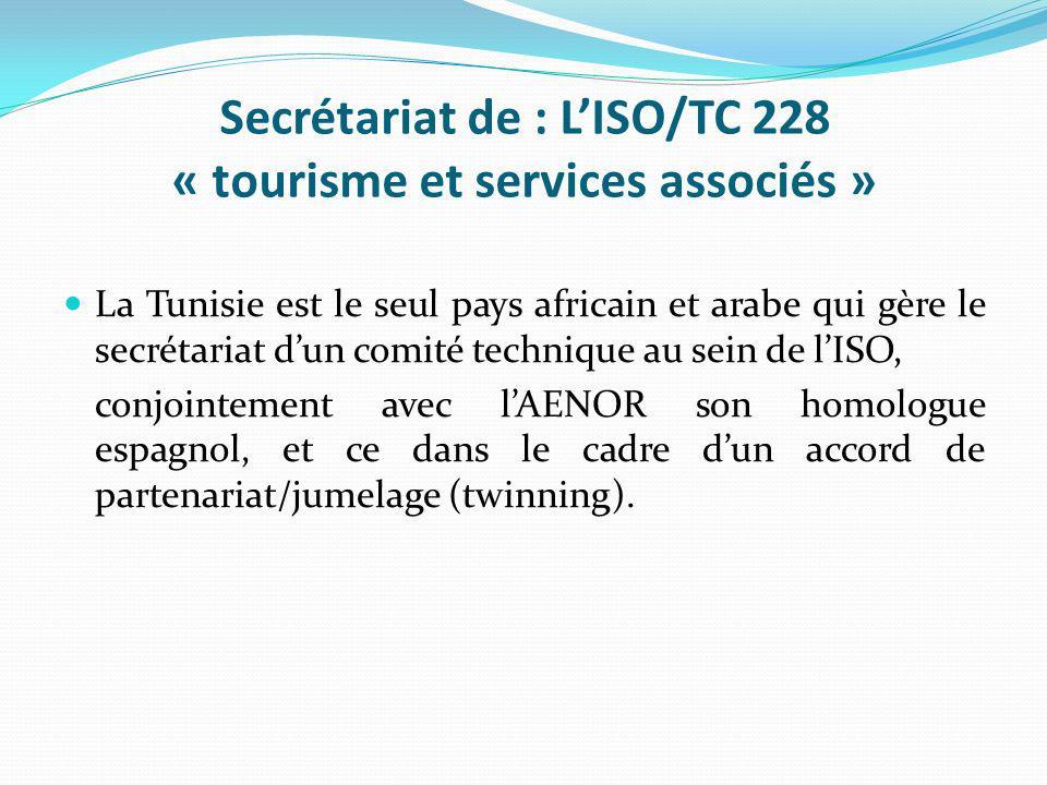 Secrétariat de : L'ISO/TC 228 « tourisme et services associés »