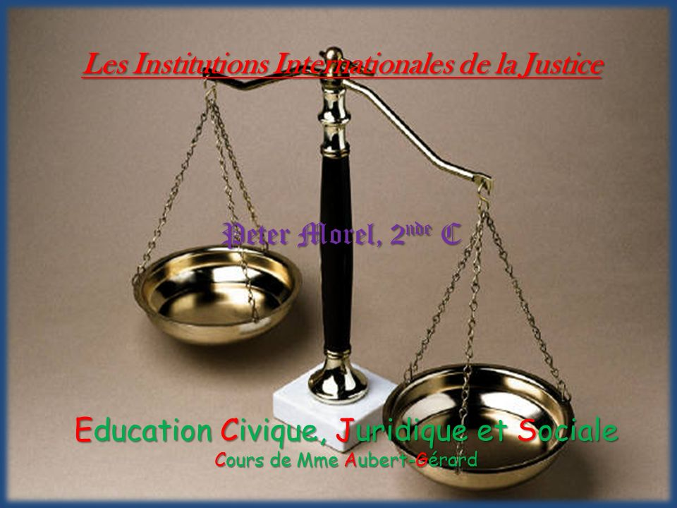 Les Institutions Internationales de la Justice
