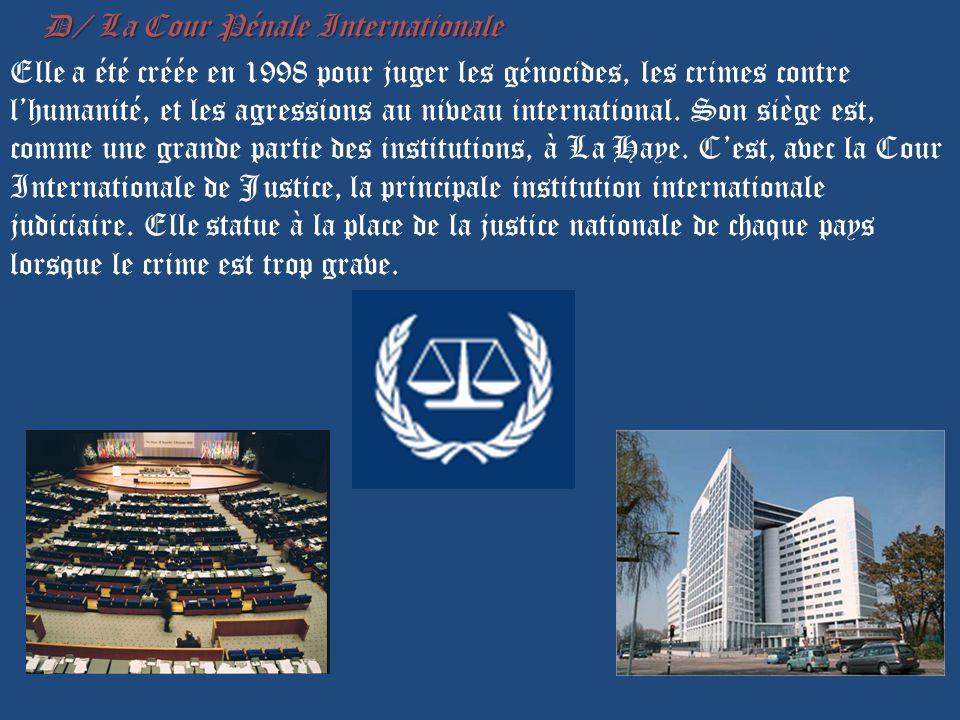 D/ La Cour Pénale Internationale Elle a été créée en 1998 pour juger les génocides, les crimes contre l'humanité, et les agressions au niveau international.