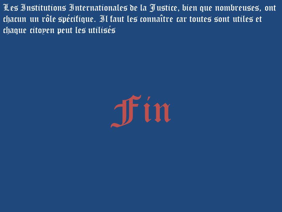 Les Institutions Internationales de la Justice, bien que nombreuses, ont chacun un rôle spécifique. Il faut les connaître car toutes sont utiles et chaque citoyen peut les utilisés