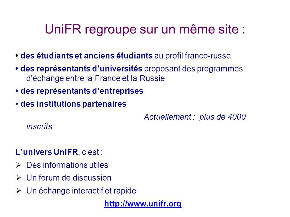 UniFR regroupe sur un même site :