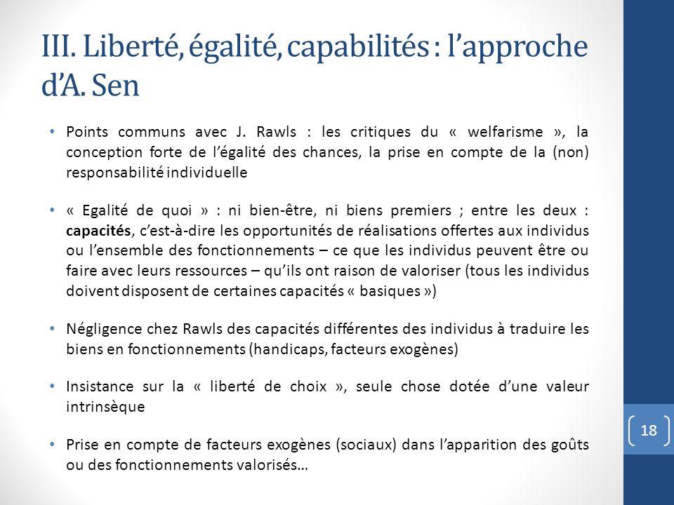 III. Liberté, égalité, capabilités : l'approche d'A. Sen
