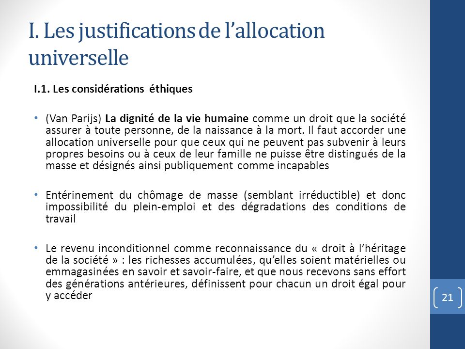 I. Les justifications de l'allocation universelle