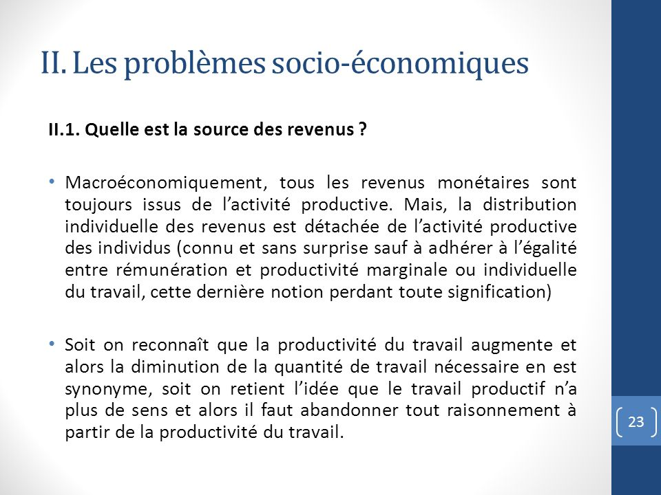 II. Les problèmes socio-économiques