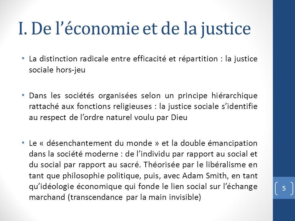 I. De l'économie et de la justice