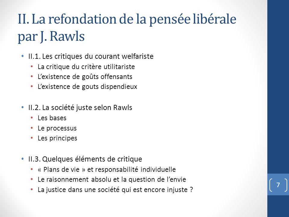 II. La refondation de la pensée libérale par J. Rawls
