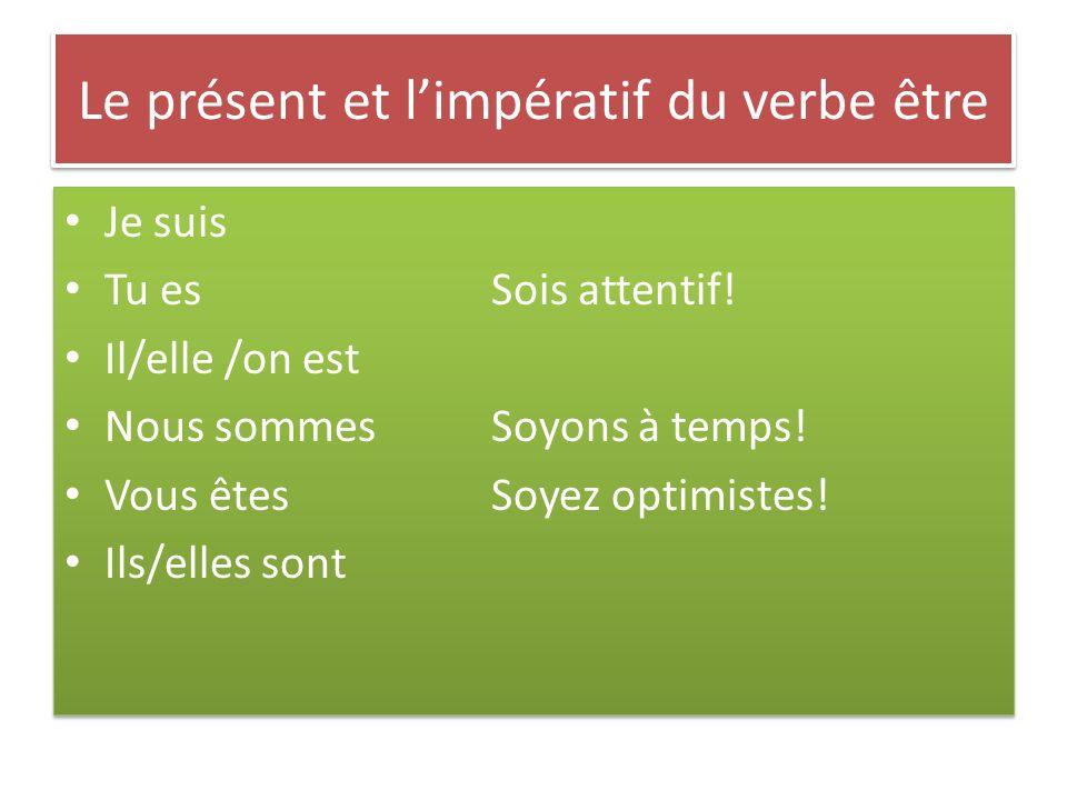 Le présent et l'impératif du verbe être