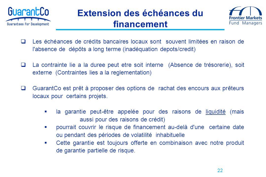 Extension des échéances du financement