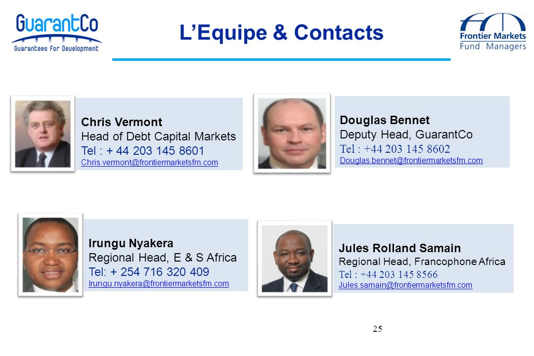 L'Equipe & Contacts 25 Douglas Bennet Chris Vermont