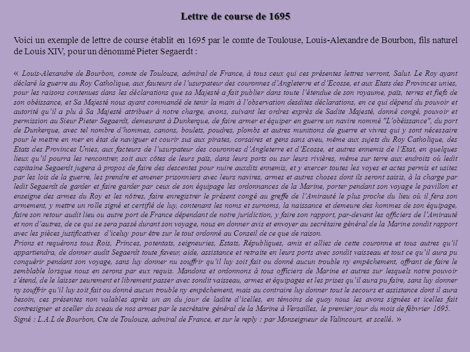 Lettre de course de 1695