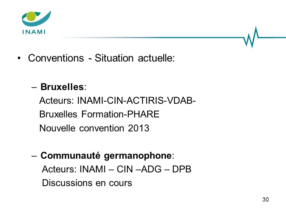 Conventions - Situation actuelle: