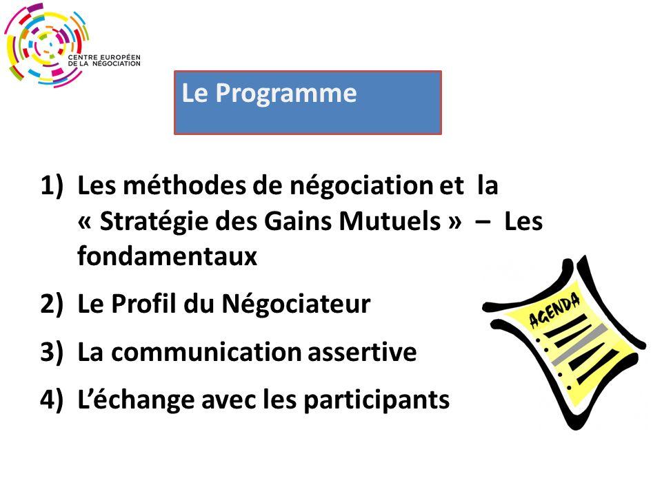 Le Programme Les méthodes de négociation et la « Stratégie des Gains Mutuels » – Les fondamentaux.