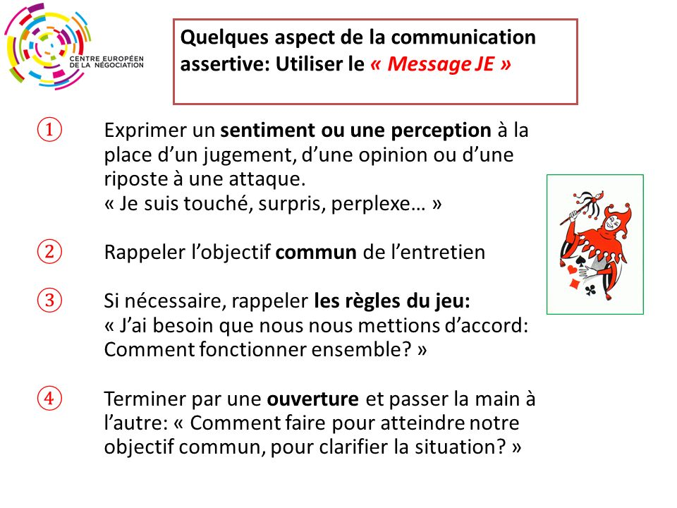 Quelques aspect de la communication assertive: Utiliser le « Message JE »