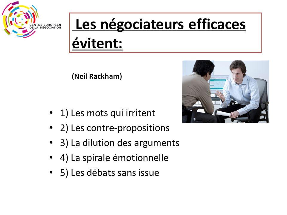 Les négociateurs efficaces évitent: (Neil Rackham)