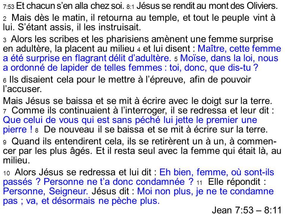 Mais Jésus se baissa et se mit à écrire avec le doigt sur la terre.