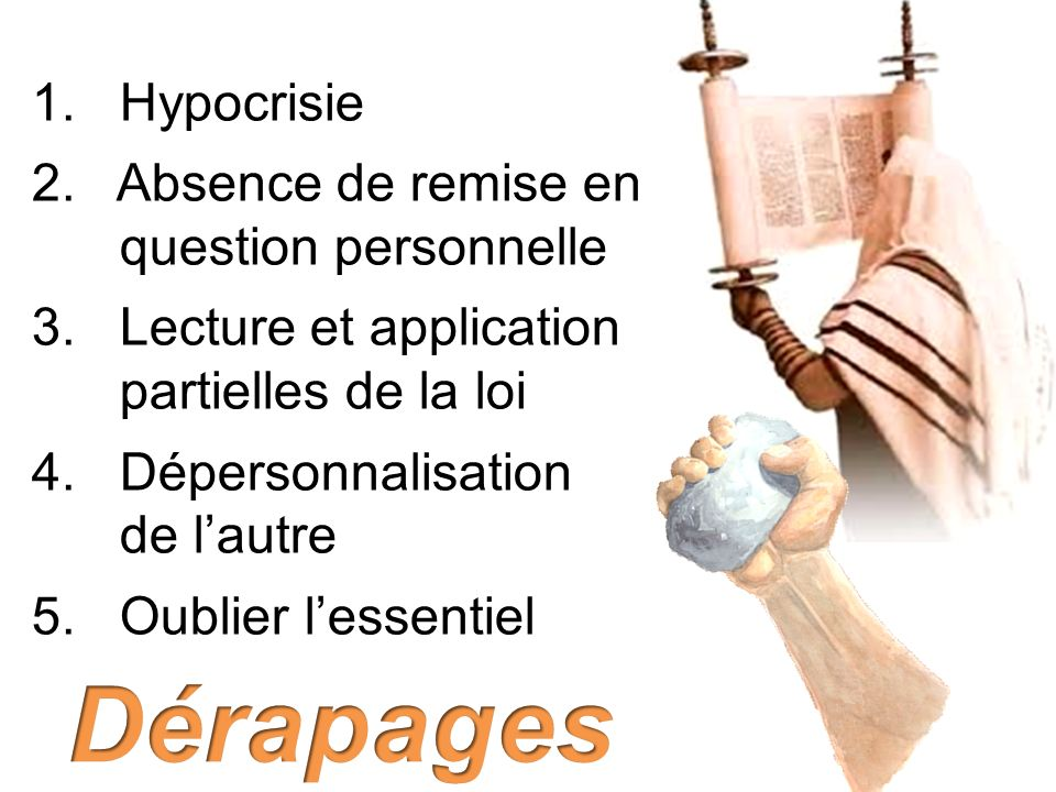 Dérapages 1. Hypocrisie 2. Absence de remise en question personnelle