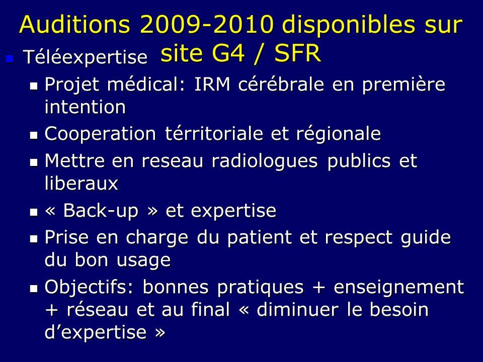 Auditions 2009-2010 disponibles sur site G4 / SFR
