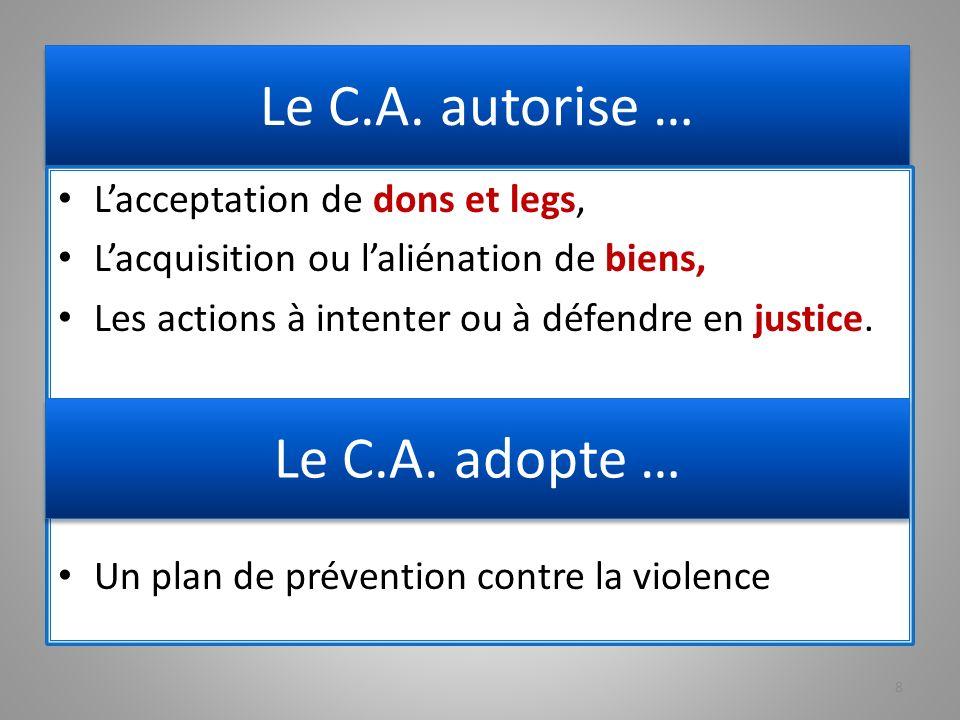 Le C.A. autorise … Le C.A. adopte … L'acceptation de dons et legs,