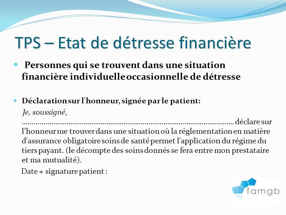 TPS – Etat de détresse financière