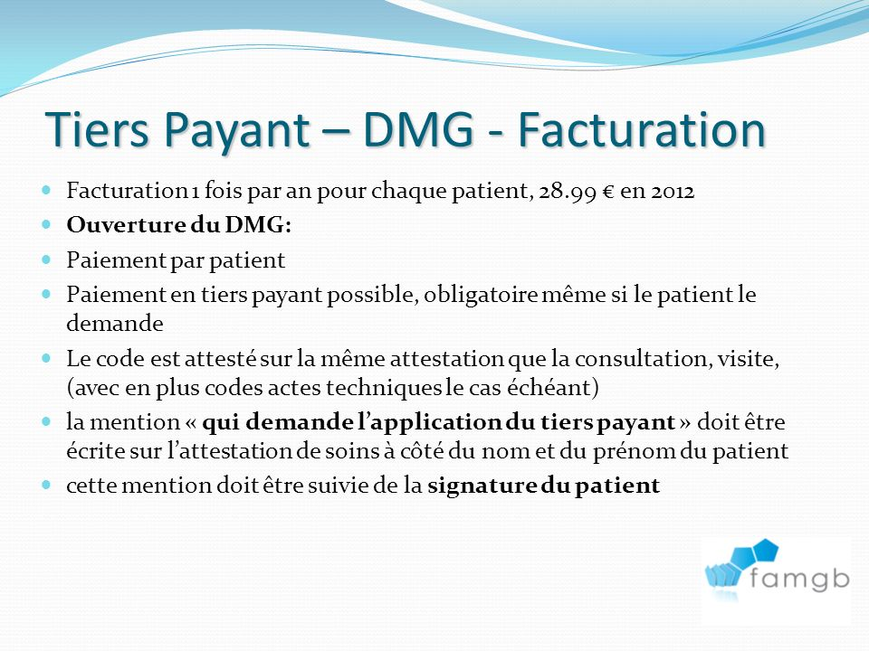Tiers Payant – DMG - Facturation