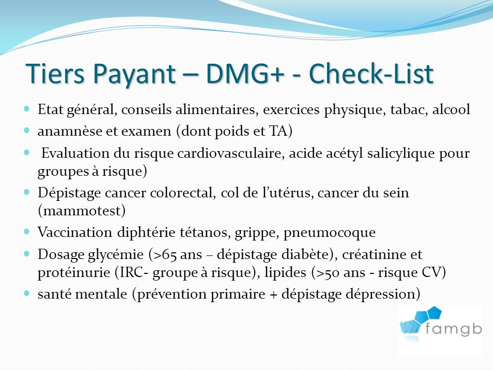 Tiers Payant – DMG+ - Check-List