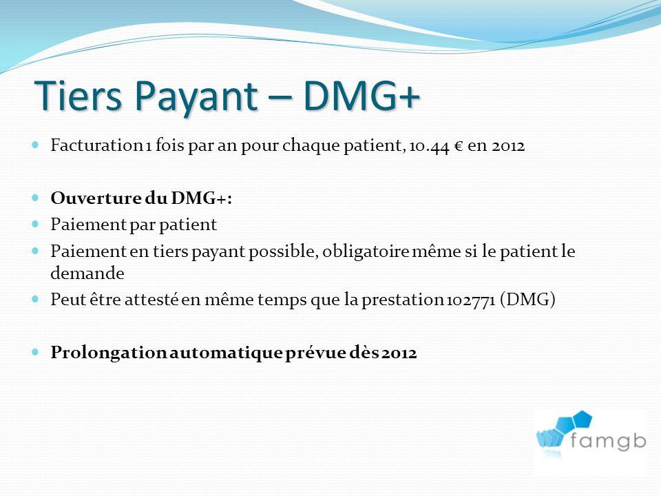Tiers Payant – DMG+ Facturation 1 fois par an pour chaque patient, 10.44 € en 2012. Ouverture du DMG+: