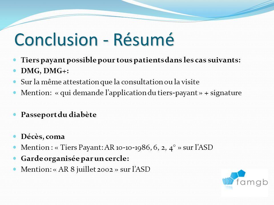 Conclusion - Résumé Tiers payant possible pour tous patients dans les cas suivants: DMG, DMG+: