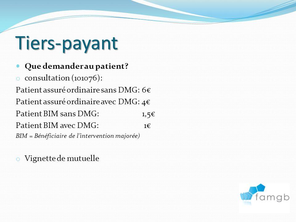 Tiers-payant Que demander au patient consultation (101076):