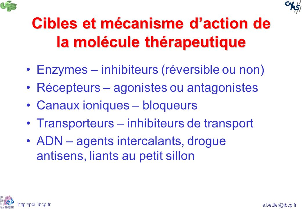 Cibles et mécanisme d'action de la molécule thérapeutique