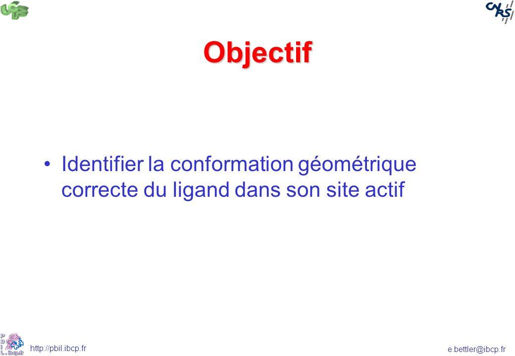 Objectif Identifier la conformation géométrique correcte du ligand dans son site actif