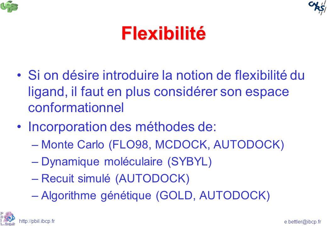 Flexibilité Si on désire introduire la notion de flexibilité du ligand, il faut en plus considérer son espace conformationnel.