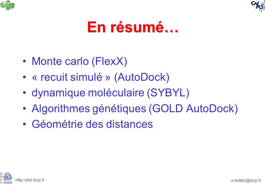 En résumé… Monte carlo (FlexX) « recuit simulé » (AutoDock)